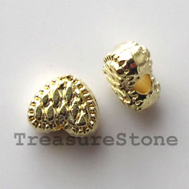 Bead, bright gold-finished, 6x7mm heart. Pkg of 20.