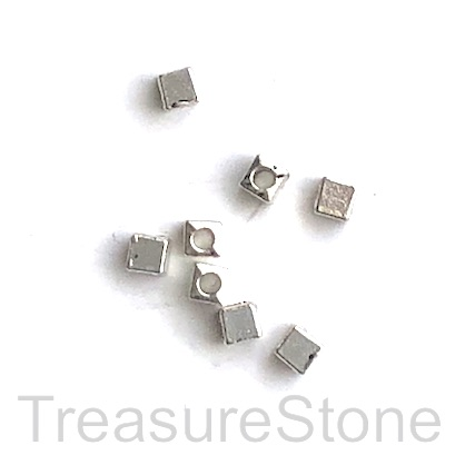 Bead, antiqued silver-finished, 3mm cube. Pkg of 30.