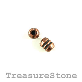 Bead, copper finished. 4x6mm. Pkg of 22.