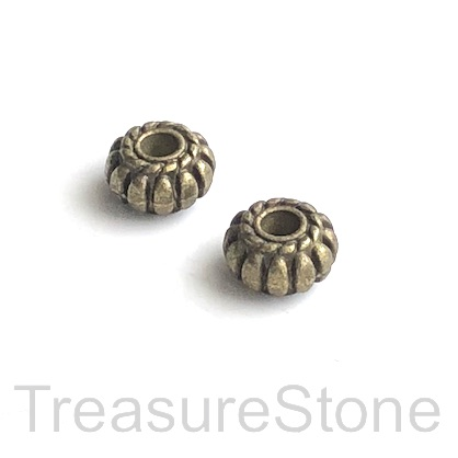 Bead, brass finished, 4.5x8mm rondelle. 15pcs