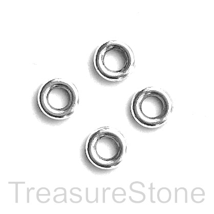 Bead, antiqued silver-finished, 7.5mm circle. Pkg of 25.