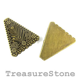 Cone, brass finished, 7-strand, 34x38mm flat triangle. Pkg of 2.