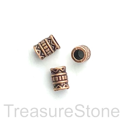 Bead, copper finished, 5x7mm tube, large hole, 3mm. Pkg of 16