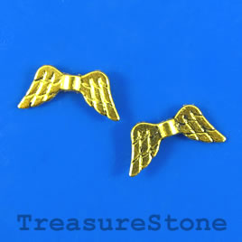 Bead, gold-finished, 10x19mm angel wing. Pkg of 15