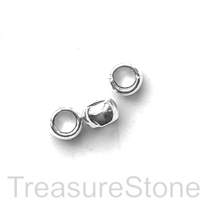 Bead, silver finished,5x7mm barrel/rondelle, large hole,4mm. 15.
