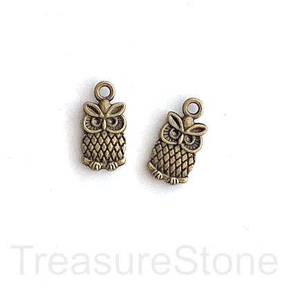 Charm/Pendant, brass-finished, 8x11mm owl. Pkg of 15.