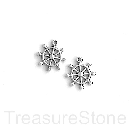 Charm, silver-finished, 10mm helm wheel. Pkg of 15.