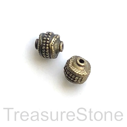 Bead, antiqued brass finished, 8x9mm . Pkg of 8.
