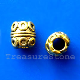 Bead, gold-finished, large hole, 8mm. Pkg of 12.
