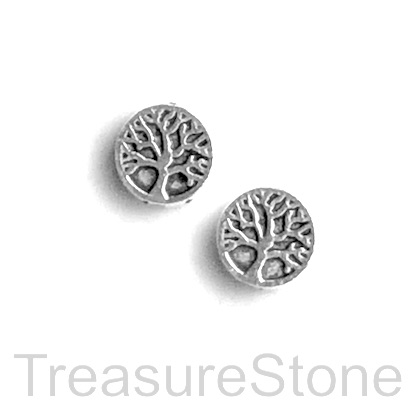 Bead, antiqued silver finished, 9mm Tree of Life. Pkg of 15