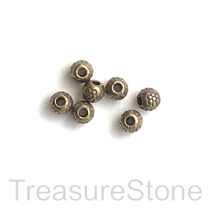 Bead, brass finished, 4mm round. 25pcs