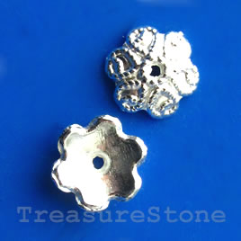 Bead cap, bright silver-finished, 9mm. Pkg of 20.
