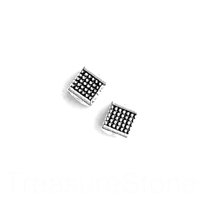 Bead, silver finished, 6mm cube. Pkg of 15.