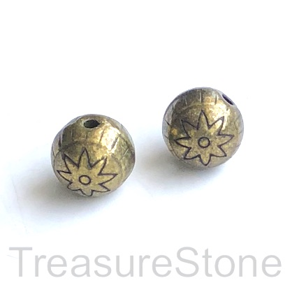 Bead, antiqued brass finished, 12mm round. 5pcs