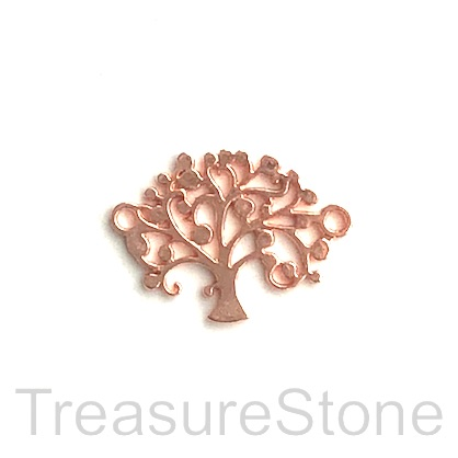 Link/Charm/Pendant, rose gold coloured, 16mm Tree of Life. 7pcs
