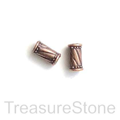 Bead, antiqued copper finished, 5x10mm tube. Pkg of 15
