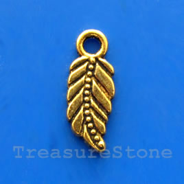 Charm, antiqued gold-finished, 7x14mm leaf. Pkg of 15.