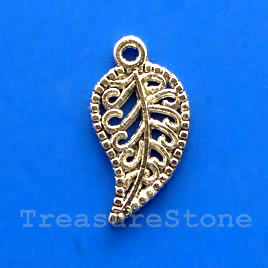 Pendant/charm, rhodium-finished, 10x16m filigree leaf. Pkg of 15