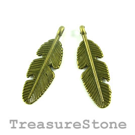 Charm/Pendant, brass-plated, 9x23mm feather. Pkg of 12.