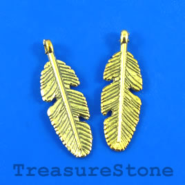 Charm/Pendant, gold-plated, 9x23mm feather. Pkg of 12.