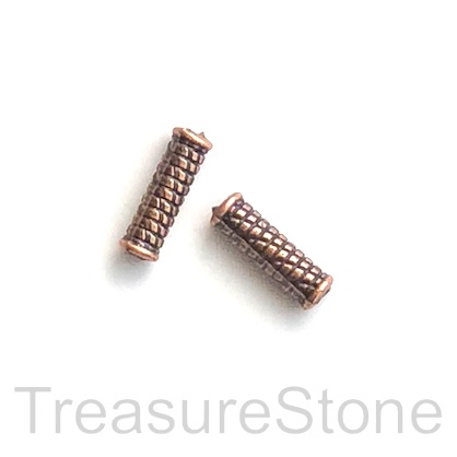 Bead, antiqued copper finished, 4x14mm tube. Pkg of 15