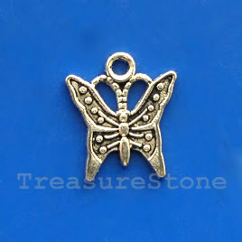 Pendant/charm, silver-finished,14mm butterfly. Pkg of 20.