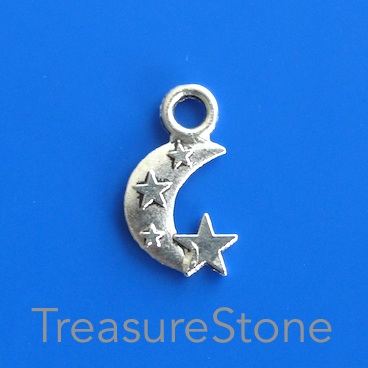 Pendant/charm, silver-finished,10x14mm crescent moon. Pkg of 20.