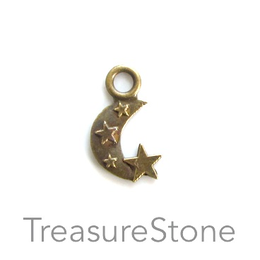 Pendant/charm, brass-finished,10x14mm crescent moon. Pkg of 20.
