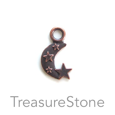 Pendant/charm, copper-finished,10x14mm crescent moon. Pkg of 20.
