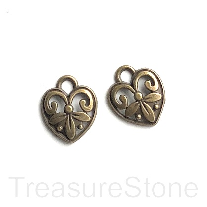 Charm, brass-finished, 13mm filigree heart. Pkg of 12.