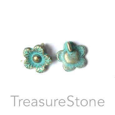Bead, turquoise brass-colored, 11mm flower button. Pkg of 15