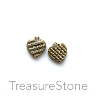 Charm, brass-plated, 11mm heart. Pkg of 12.