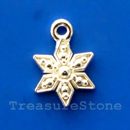Charm, silver-finished, 11mm flower. pkg of 15.