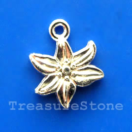 Charm, silver-finished, 13mm Flower. pkg of 15.