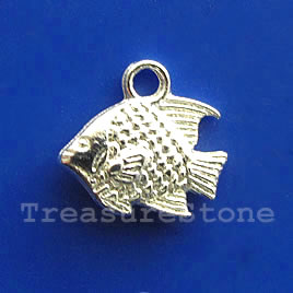 Charm, silver-finished, 10x13mm fish. Pkg of 15.