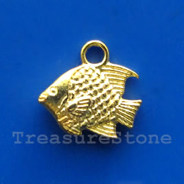 Pendant/charm, gold-finished, 10x13mm fish. Pkg of 15.
