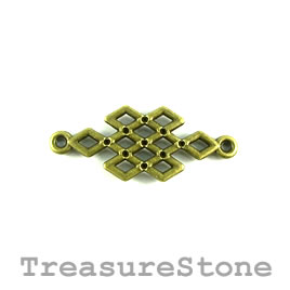 Pendant/Link/connector, brass-plated, 14x26mm. Pkg of 6.