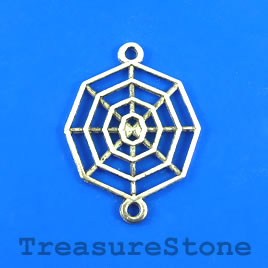 Charm/Pendant/link, 21x22mm spider web. Pkg of 8.