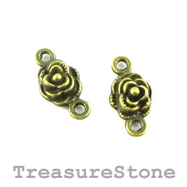 Link/Bead, brass-finished, 9mm rose. Pkg of 15.