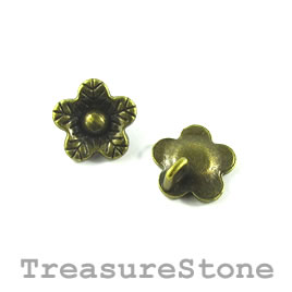 Charm/button, brass-plated, 12mm flower. Pkg of 12.