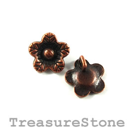 Charm/button, copper-plated, 12mm flower. Pkg of 12.