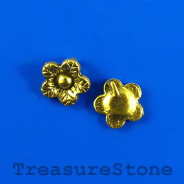 Charm/button, gold-plated, 12mm flower. Pkg of 12.