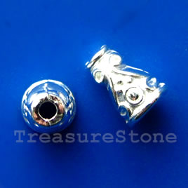 Cone, bright silver-finished, 7x10mm. Pkg of 16.
