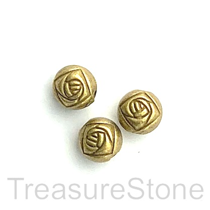 Bead, antiqued brass finished, 6x7mm round. Pkg of 15