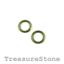 Bead, brass-finished, 10mm circle. Pkg of 32.