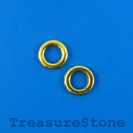 Bead, gold-finished, 10mm circle. Pkg of 32.