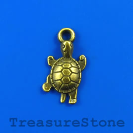 Charm/pendant, brass-plated, 13x18mm turtle. Pkg of 9.