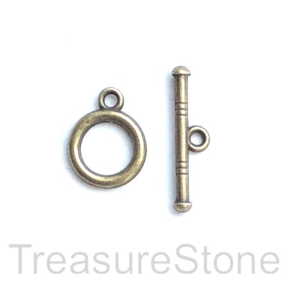 Clasp, toggle, antiqued brass-finished, 12mm/21mm. Pkg of 9.