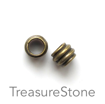 Bead, antiqued brass finished, large hole, 7x8mm tube. 15pcs