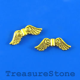 Bead, gold-finished, 7x19mm angel wing. Pkg of 12